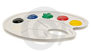 Plastic Palette With Paints Royalty Free Stock Photos - Image: 20108648