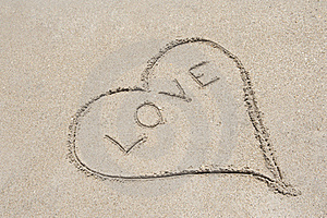 Love Written In Sand Royalty Free Stock Photos - Image: 20112378