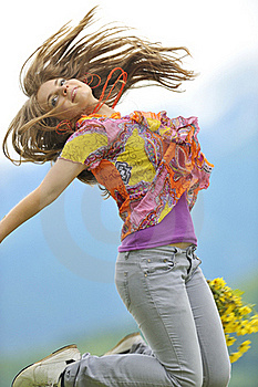 Beautiful Woman Jump On Field Stock Photography - Image: 20112702