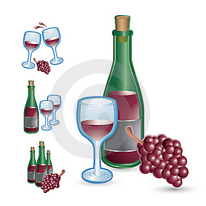 Wine Glasses, Bottles, And Grapes Royalty Free Stock Images - Image: 20115059