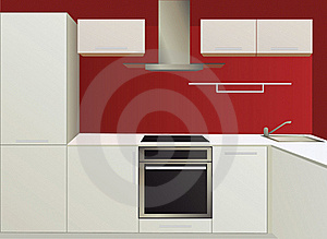 White And Red Kitchen With Household Appliances Royalty Free Stock Images - Image: 20115569