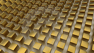 Array Of Golden Cubes Stock Photography - Image: 20116402