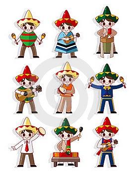 Zespołu Kreskówki Ikony Meksykański Muzyczny Set Obrazy Royalty Free - Obraz: 20121799