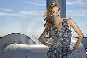 Beautiful Girl On Background Blue Sky Stock Image - Image: 20129521