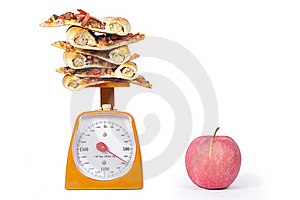 Apple And Pizza Slices Royalty Free Stock Image - Image: 20129546