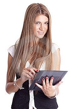 Beautiful Woman Using Tablet Computer Royalty Free Stock Photos - Image: 20130538