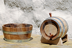 Ontainer And Wooden Keg Stock Image - Image: 20131051