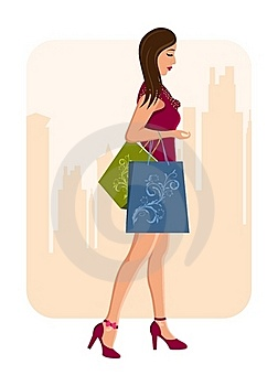 Girl With Shopping Bags, Urban Background Stock Photos - Image: 20131223