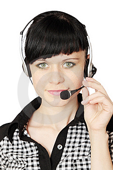 Woman With Telephone Headset Royalty Free Stock Photography - Image: 20131717