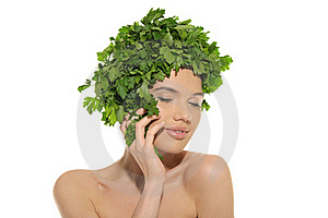 Beautiful Woman With Hat Of Parsley Royalty Free Stock Photo - Image: 20139825
