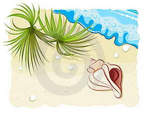 Seashell With Palm Leafs And Ocean Wave Royalty Free Stock Images - Image: 20141639