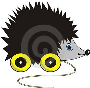 Ridiculous Hedgehog - Toy On  Wheels Royalty Free Stock Images - Image: 20142209