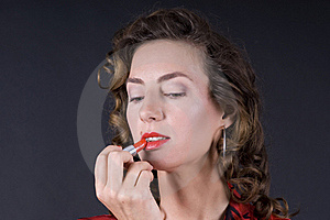 Beautiful Young Woman With Lipstick Royalty Free Stock Photography - Image: 20142567