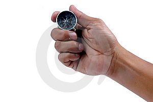 Man's Hand Holding A Compass Stock Image - Image: 20143001