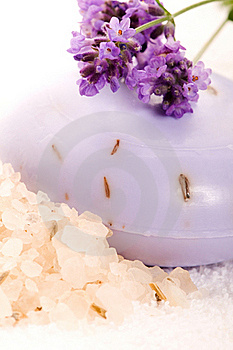 Soap With Fresh Lavender Flowers And Bath Salt Stock Images - Image: 20145544