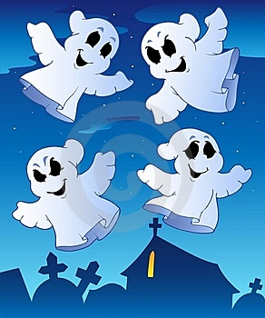 Four Ghosts Near Cemetery Royalty Free Stock Photo - Image: 20146295