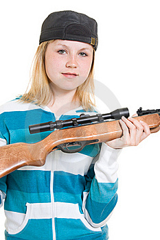 A Teenager With A Gun Royalty Free Stock Photos - Image: 20146678