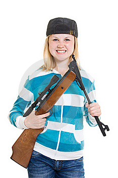 A Teenager With A Gun Royalty Free Stock Photography - Image: 20146737