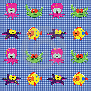Checked Pattern With Doodle Sea Creatures Stock Photos - Image: 20148283