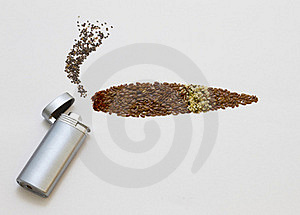 Smoking Chia Heap And Flax Seeds Sigar Royalty Free Stock Photo - Image: 20148425