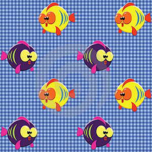 Checked Pattern With Funny Fishes Stock Image - Image: 20148651