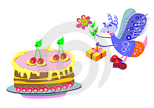 Cake And A Gift From A Fly Stock Photo - Image: 20151380
