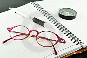 Notebook With Pen And Glasses Stock Image - Image: 20153711