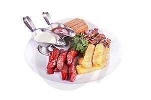 Dish Meal, Chicken, Sausage, Potatoes, Toast. Royalty Free Stock Photos - Image: 20155818