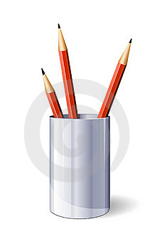 Red Vector Pencils In Glass Stock Photo - Image: 20155890
