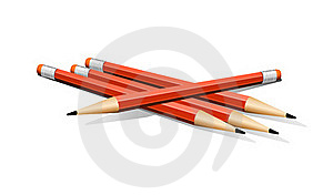 Four Red Vector Pencils Stock Image - Image: 20155891