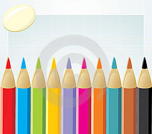 Colorful Pencils And Elastic Stock Photo - Image: 20158890