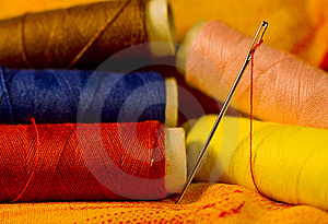 Needle On Cloth Royalty Free Stock Images - Image: 20160049
