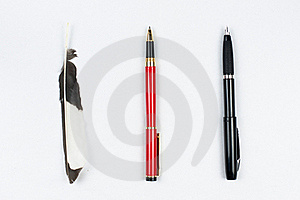 Feather Pen Ball Pen And Pen Royalty Free Stock Image - Image: 20160756