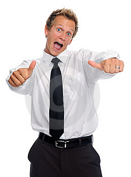 Excited Businessman With Thumbs Up Stock Image - Image: 20162171