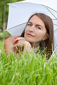 Young Women Lies On Grass Stock Images - Image: 20162984