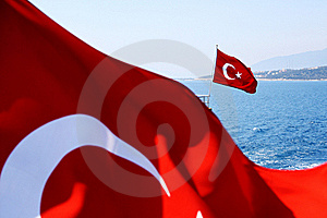 Image Of Two Turkish Flags Royalty Free Stock Photography - Image: 20165937