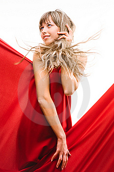 Young Girl In A Red Cloth Royalty Free Stock Image - Image: 20174536