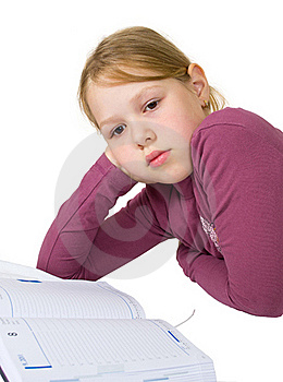 Little Girl Sleeping While Doing Her Studies Stock Photos - Image: 20176683