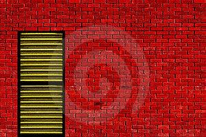 Red Wall Yellow Door Stock Photo - Image: 20181700