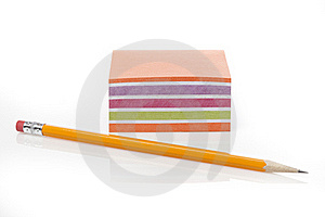 A Colorful Note Pad With A Pencil Royalty Free Stock Photography - Image: 20185177