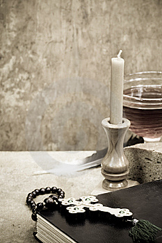 Holy Scriptures, Candle And Vine Stock Image - Image: 20186691