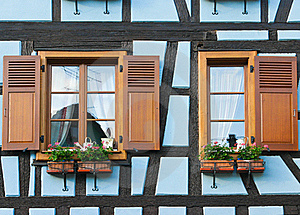 Windows Of Timber Framing House Stock Image - Image: 20188661