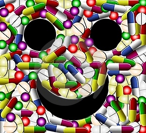 Smiley Face With Pills Royalty Free Stock Photography - Image: 20188717