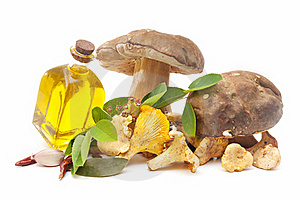 Edible Mushrooms And Olive Oil Stock Photos - Image: 20189373