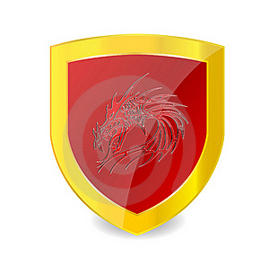Red Dragon On The Red Emblem And Gold Bolder Stock Image - Image: 20193181