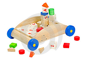 Colorful Kids  Toy Blocks In The Wooden Car Royalty Free Stock Photography - Image: 20193567