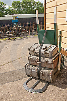 Old Fashioned Two Wheeled Luggage Trolly Royalty Free Stock Photography - Image: 20194777