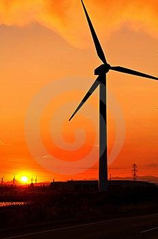 Windturbines At Sunset Stock Photo - Image: 20196280