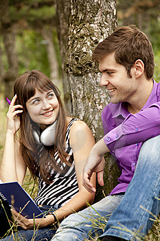 Two Students At Outdoor Doing Homework Stock Photography - Image: 20196892