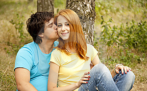 Couple At The Park In Summer Day Royalty Free Stock Images - Image: 20196939